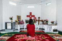 A prayer in the room, at the top of Naw Bu Baw mountain, Than Ta stock photography