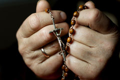 Prayer  with rosary Royalty Free Stock Photo