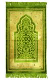 Prayer rug for muslims. Prayer rug for muslims in green colour Royalty Free Stock Photo