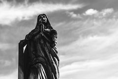 A prayer. A sculpture in a graveyard, localizated at Araraquara city, Brazil royalty free stock image