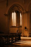 Prayer Sepia. An area for prayer in a cathedral. Sepia Royalty Free Stock Photos