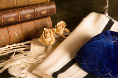 Prayer shawl and books. Jewish prayer shawl, hat and antique books Royalty Free Stock Image