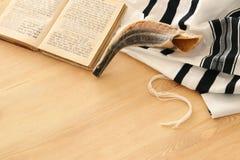 Prayer Shawl - Tallit, Prayer book and Shofar horn jewish religious symbols. Rosh hashanah jewish New Year holiday, Shabbat an. D Yom kippur concept royalty free stock photography