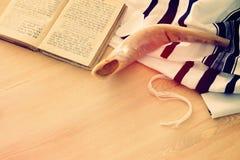 Prayer Shawl - Tallit, Prayer book and Shofar horn jewish religious symbols. Rosh hashanah jewish New Year holiday, Shabbat an. D Yom kippur concept royalty free stock photos