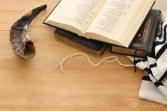 Prayer Shawl - Tallit, Prayer book and Shofar horn jewish religious symbols. Rosh hashanah jewish New Year holiday, Shabbat an. D Yom kippur concept royalty free stock photo