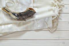 Prayer Shawl - Tallit, jewish religious symbol. Selective focus. Royalty Free Stock Photos