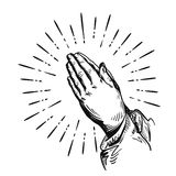 Prayer. Sketch praying hands. Vector illustration isolated on white background Stock Photo
