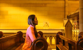 Prayer in st jack's cathedral,Brisbane,australia Royalty Free Stock Images