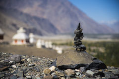 The prayer stones. Indian stupas from the top of the temple Stock Photography