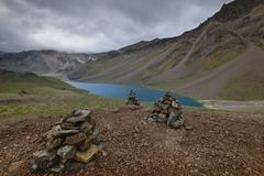 Prayer Stones near chandrataal lake in Spiti Valley Royalty Free Stock Images