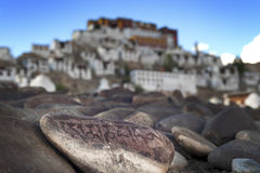 Prayer stones from Tiksey monastery Royalty Free Stock Images