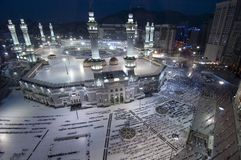 Prayer and Tawaf of Muslims Around AlKaaba in Mecca, Saudi Arabi. A, Aerial Top View Stock Photography