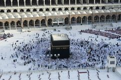Prayer and Tawaf of Muslims Around AlKaaba in Mecca, Saudi Arabi. A, Aerial Top View Royalty Free Stock Photography