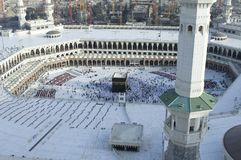 Prayer and Tawaf of Muslims Around AlKaaba in Mecca, Saudi Arabia. Aerial Top View royalty free stock images