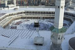 Prayer and Tawaf of Muslims Around AlKaaba in Mecca, Saudi Arabi. A, Aerial Top View Royalty Free Stock Photos