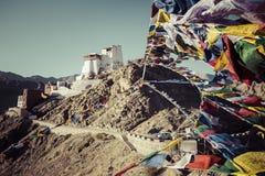 Prayer tibetan flags near the Namgyal Tsemo Monastery in Leh, La Royalty Free Stock Photo