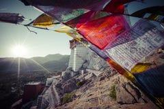 Prayer tibetan flags near the Namgyal Tsemo Monastery in Leh, La Royalty Free Stock Image