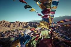 Prayer tibetan flags near the Namgyal Tsemo Monastery in Leh, La Stock Image