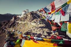 Prayer tibetan flags near the Namgyal Tsemo Monastery in Leh, La Stock Photography