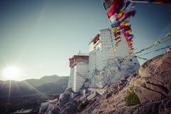 Prayer tibetan flags near the Namgyal Tsemo Monastery in Leh, La Stock Photos