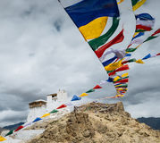Prayer tibetan flags near the Namgyal Tsemo Monastery in Leh, La Royalty Free Stock Image