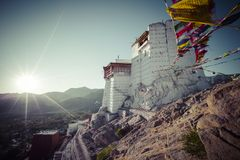 Prayer tibetan flags near the Namgyal Tsemo Monastery in Leh, La Royalty Free Stock Photography