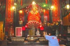 Prayer in the Tin Hau temple, Hong Kong, China Royalty Free Stock Photo