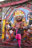 Prayer to Black (Kala) Bhairav, Kathmandu, Nepal Royalty Free Stock Images