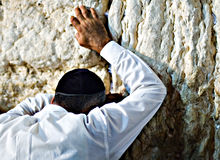 Prayer at the wailing wall, Jerusalem Israel Stock Image