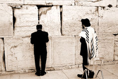 Prayer by the Western Wall. Jews are praying by the Western Wall, Jerusalem Royalty Free Stock Photography