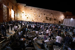 Prayer at the western wall at night, Jerusalem, Israel Royalty Free Stock Images