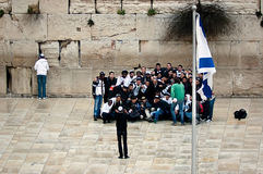 Prayer at the Western Wall of Temple Stock Photography