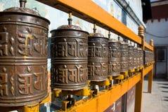 Prayer wheel. In Boudhanath in Kathmandu Stock Photography