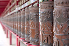 Prayer wheel. The ancient texts tell us that the Prayer Wheel was brought to our world by Nagarjuna, a famous Indian Buddhist scholar, philosopher, and yogi. The Royalty Free Stock Image