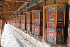 Prayer wheel around Labrang Monastery Stock Photos