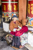 At the prayer wheel Stock Photo