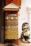Prayer wheel at the entrance of Swayambhunath Stupa Royalty Free Stock Photos