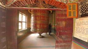 Prayer wheel in Kathmandu, Nepal stock video footage