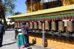 Prayer wheel in Lhasa, tibet stock image