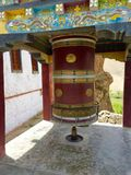 Prayer wheel outside Mulbek Monastery Royalty Free Stock Images