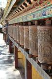 Prayer wheel. Outside the temple in Tibet Stock Image