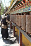 Prayer wheel. Outside the temple in Tibet Royalty Free Stock Photography