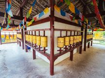 Prayer wheel. In chinese temple Stock Photography