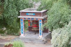 Prayer wheel at the Rizong Monastery, Ladakh, India. It is a Buddhist monastery at the top of rocky side valley on the north side of the Indus, north of Alchi Royalty Free Stock Image