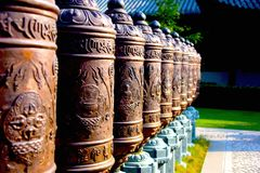 Prayer wheel. In Zhenru temple. The Temple is an ancient temple Stock Photo