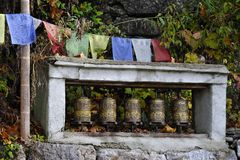 Prayer wheels. Believing that turning prayer wheels (Dharma wheels) filled with these texts and symbols is equivalent to reciting them, Tibetans place dharma Royalty Free Stock Images