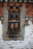 Prayer Wheels. At the Jambay Lhakhang temple in Bhutan. Jambay Lhakhang, also spelled Jampey Lhakhang, is located in Bumthang (Jakar) in Bhutan, and is said to Stock Photography