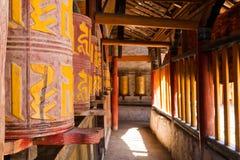 Prayer wheels. Old traditional tibetan prayer wheels Royalty Free Stock Photos