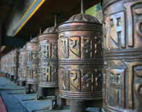 Prayer wheels. With mantras, highlands Nepal Stock Photos