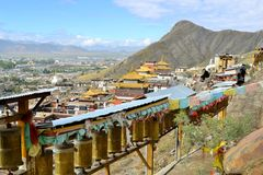 Prayer wheels around monastery in Shigatse, Tibet Royalty Free Stock Images